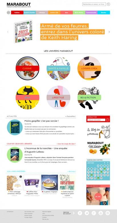 homepage du site des éditions Marabout