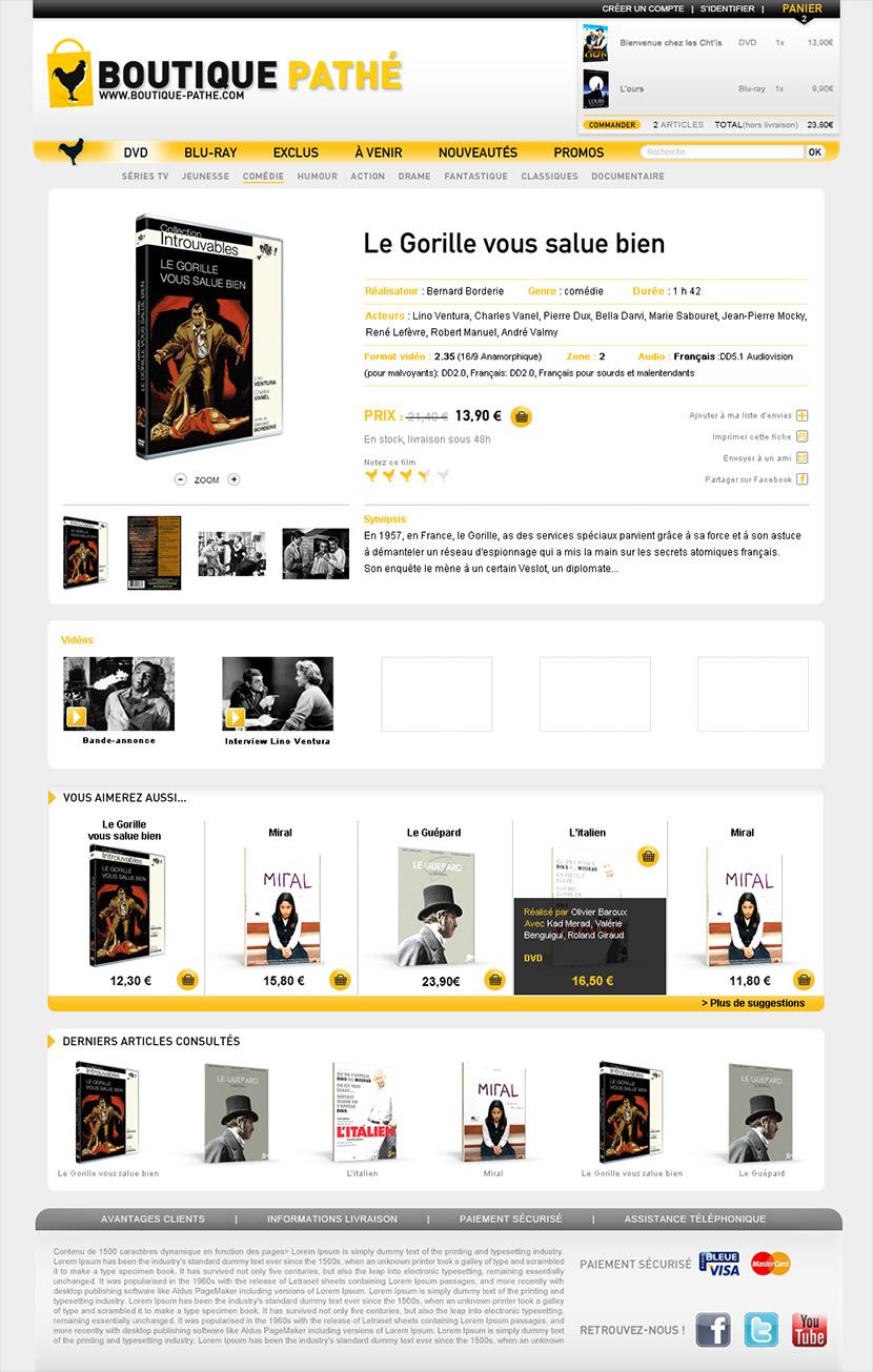 Page film de la boutique Pathé